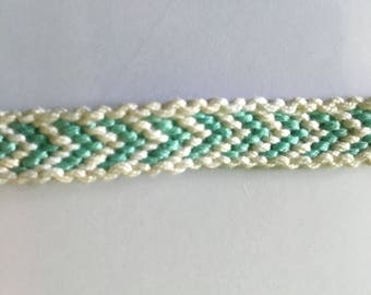 Friendship Bracelet, white and sky blue with white border