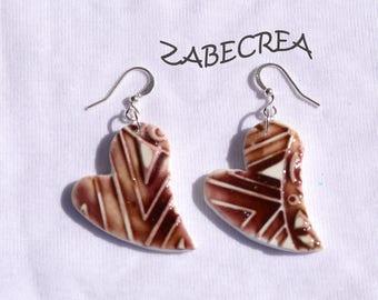 a pair of earrings heart series Brown ceramics imitation