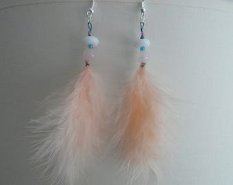 Feather and ROSE QUARTZ earrings