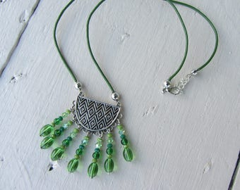 Necklace short green leather, ethnic pendant engraved silver metal charms with green beads