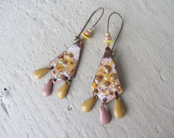 Ethnic dangle earrings with drop charm, copper enamel, and paillettes sequins with soft tones of pink, yellow, beige