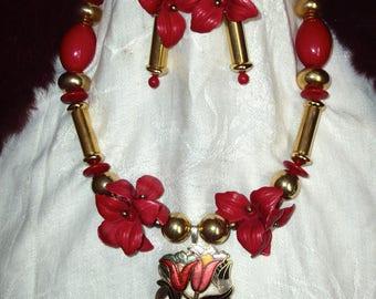 Adornment necklace and earrings vintage art nouveau