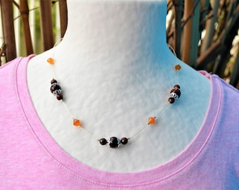 Silver plated necklace with carnelian and Tiger eye / women's and protective stones / Valentine / two-tone necklace