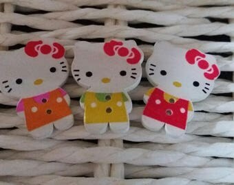 3 buttons hello kitty red yellow orange