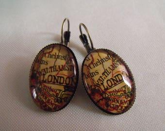 CLEARANCE london glass oval cabochon earrings