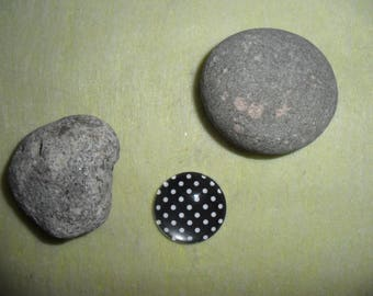 Black polka dot glass cabochon 25 mm round