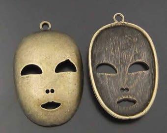 Antiqued bronze 36 * 26 mask charm * 6 mm