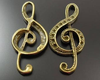10 charms music clef bronze 30 * 15 * 1.5 mm