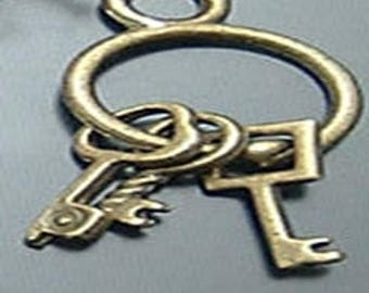 20 charms Keychain metal antique bronze 13 * 13 mm