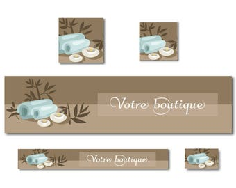 Custom banner zen taupe and turquoise natural atmosphere for your shop