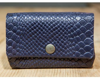 Leather wallet Navy effect snake, great pattern