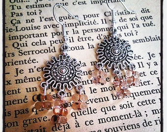 sleeper earrings silver and pink butterfly beads