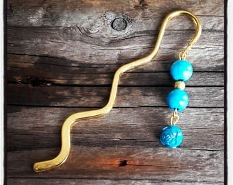 gold charm bookmark turquoise beads