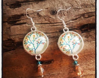 Blue and orange tree silver cabochon earrings