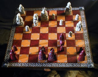 Chess Board medieval leather tooled