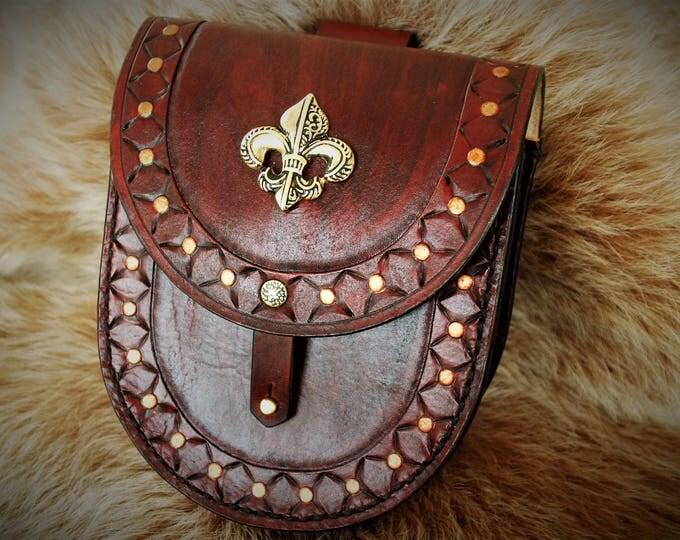 """Satchel medieval Belt pouch purse mixed """"Fleur de lys"""" tooled leather"""