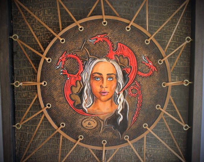 Daenerys Targaryen portrait Decoration fantasyTableau tooled leather mother of dragons Game of thrones fan art