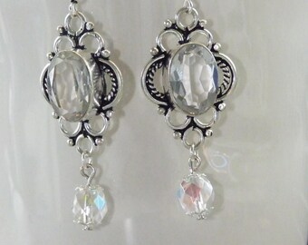 CIRCLE EARRINGS WORKS WITH QUARTZ STONE BAROQUE STYLE