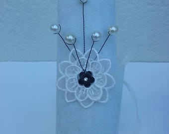wire black and ivory lace flower wedding bracelet / off white