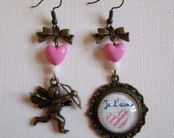 """Mon Amour"", cabochon earrings bronze, costume jewelry pendant, asymmetrical"