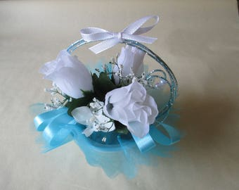 Table centerpiece, wedding, turquoise blue and white