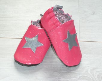 Baby shoes soft pink glittery Silver Star