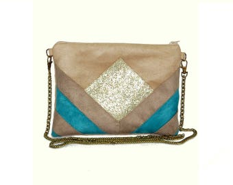 Wallet, beige, taupe Suede, turquoise, faux leather shoulder bag glitter - graphic line