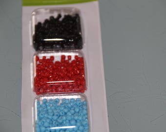 BLACK RED BLUE SEED BEADS