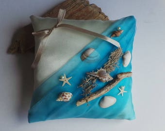 Teal turquoise ivory ring on the theme of the sea