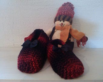 Slippers for women & children T32 35 colorful red and black raised with a bow