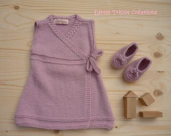 Wool dress and booties (3 months) soft pink. Handmade 100% made in France