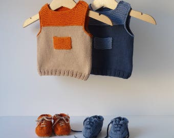 Cotton sweater and sneakers (3/6 months baby) - color orange and sand, hand made - 100% cotton Oeko-Tex