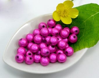 Magic miracle set of 5 fuchsia colored 8 mm bead