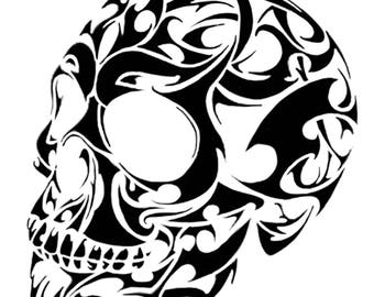 Tribal skull decal
