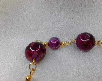 Burgundy purple bracelet, rose gold resin