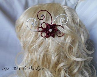 ANAIS with Burgundy satin flower hair comb
