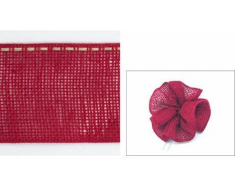 Linen flowers 58mm red neck Ribbon