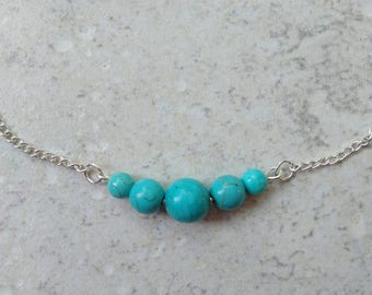 """Genuine turquoise necklace, chain, silver, hippie chic, """"Emotion"""", Crystal healing"""