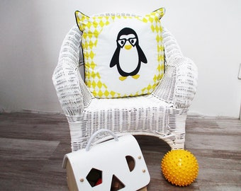 Baby Cushion cover 40 x 40 cm grey and yellow pattern Penguin