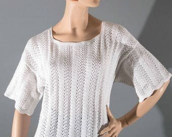 White cotton women T44 tunic sweater