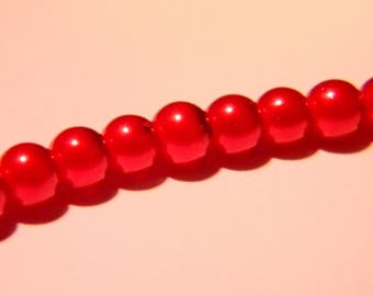 30 pearls Pearly iridescent glass 6 mm - Red Metallic PF129 1