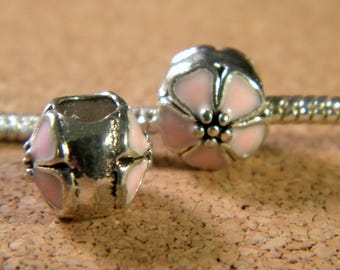 bead charm European-style pandor@-10 mm - spray-painted European bead - pale pink enamel cherry blossom - C54
