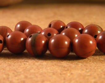 Jasper red stone - round - 8mm gem gemstone PP144 10 beads
