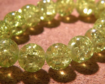 Crackle Glass 10 mm yellow pale - PE295 40 beads