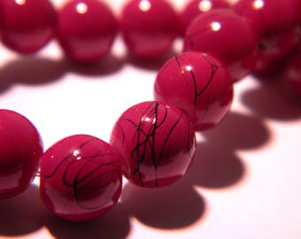 25 glass beads extruded - 8 mm glass bead - drawbench-Burgundy threaded black G133 7