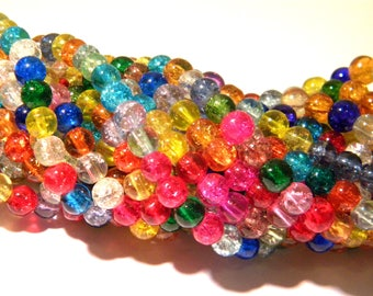 65 Crackle glass beads - 6 mm Pearl glass - Crackle - multicolored - G138