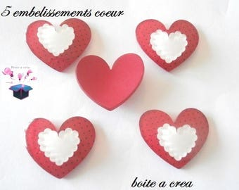 5 red heart with white heart 35 x 25 mm embellishments