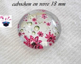 1 cabochon clear domed 18mm flower cat series
