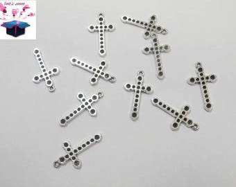 10 antique silver charms cross size 2.4 cm x 1.3 cm