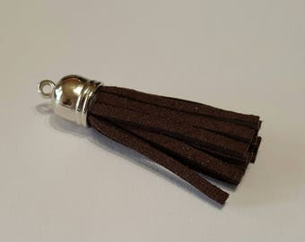 Leather suede 4 cm silver cap tassel / Brown